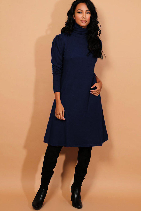 Navy Turtleneck Puff Sleeves Flat Knit Midi Dress - SinglePrice