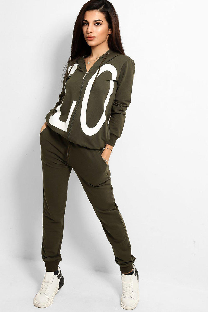 Khaki Love Printed Body Front And Back Tracksuit - SinglePrice