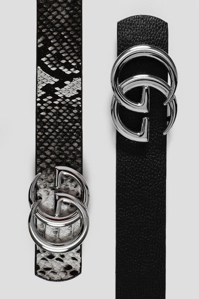 SIlver Buckle Black Snake Reversible Belt-SinglePrice