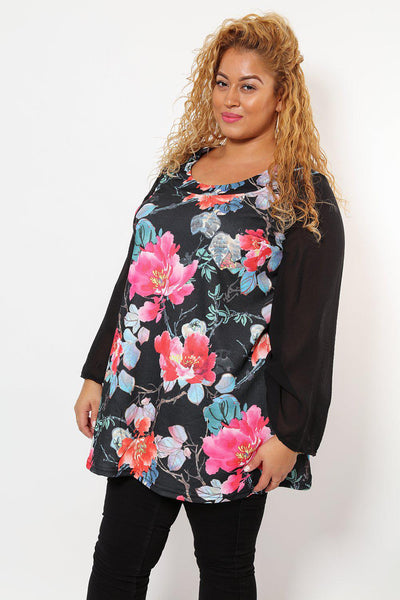 Sheer Bell Sleeves Floral Print Tunic-SinglePrice