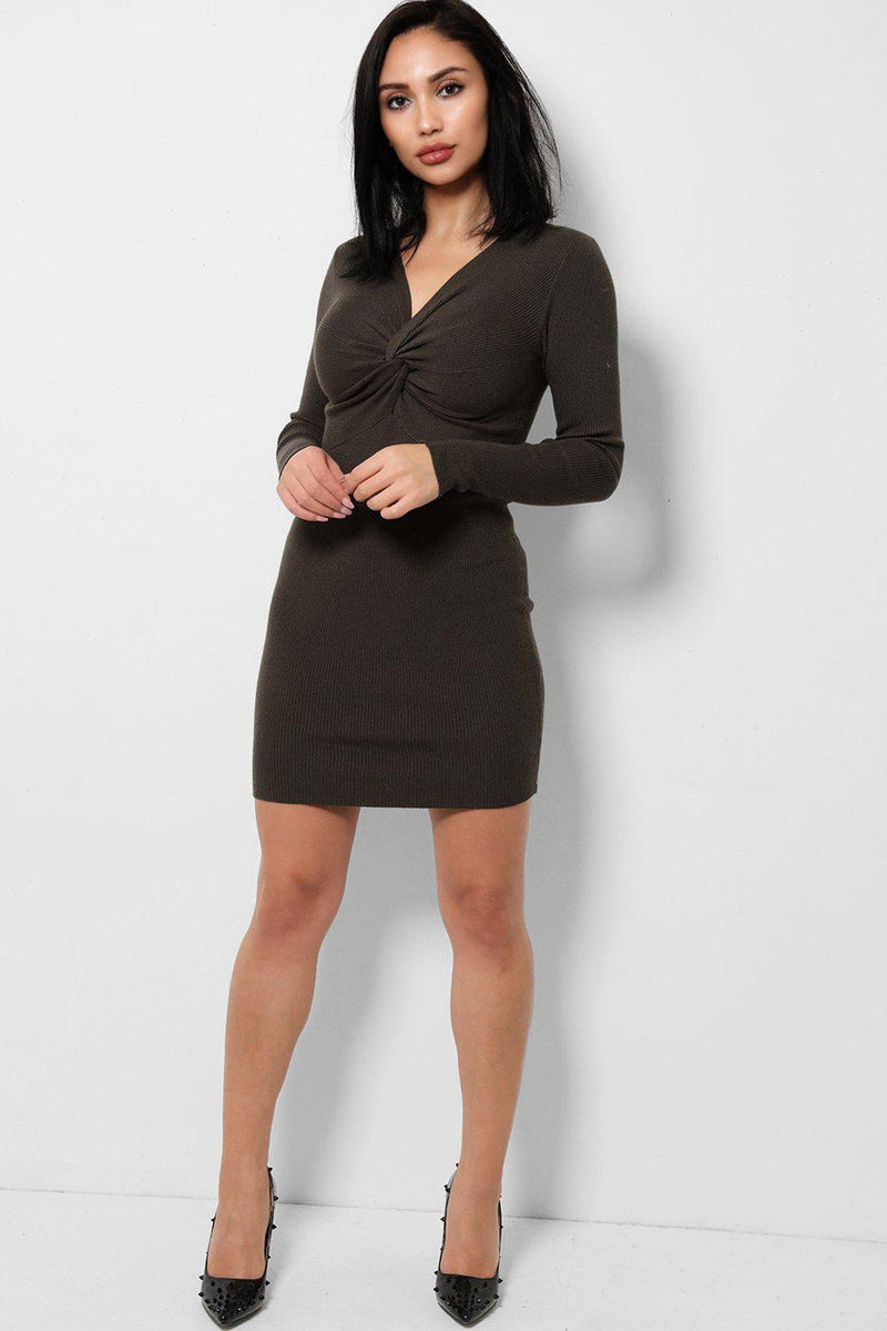 Twist Front Olive Knitted Dress - SinglePrice