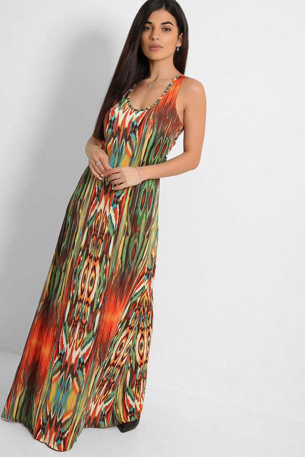 Green Strappy Back Speckled Print Slinky Maxi Dress - SinglePrice