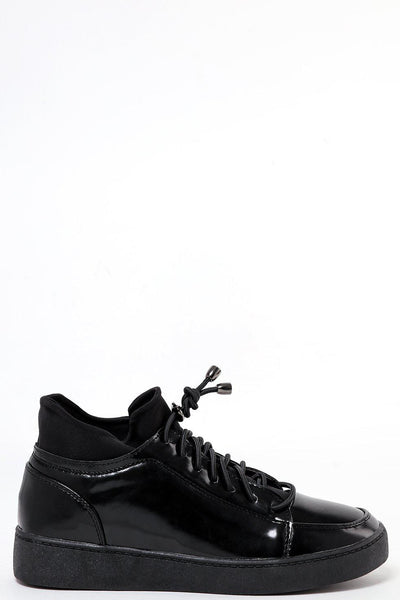 Black Patent PU Drawstring Laces Trainer-SinglePrice
