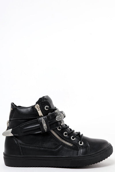 Hi Top Trainers With Metal Details Strap-SinglePrice