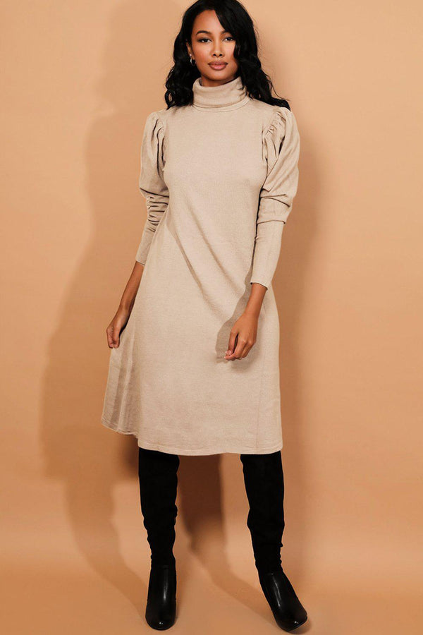 Cream Turtleneck Puff Sleeves Flat Knit Midi Dress - SinglePrice