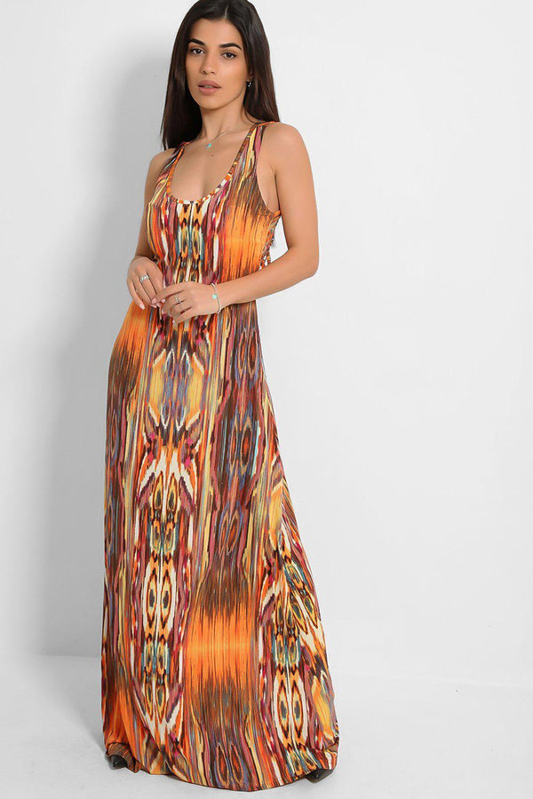 Orange Strappy Back Speckled Print Slinky Maxi Dress - SinglePrice