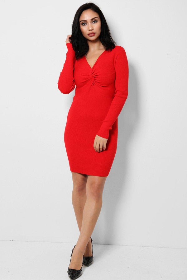 Twist Front Red Knitted Dress-SinglePrice