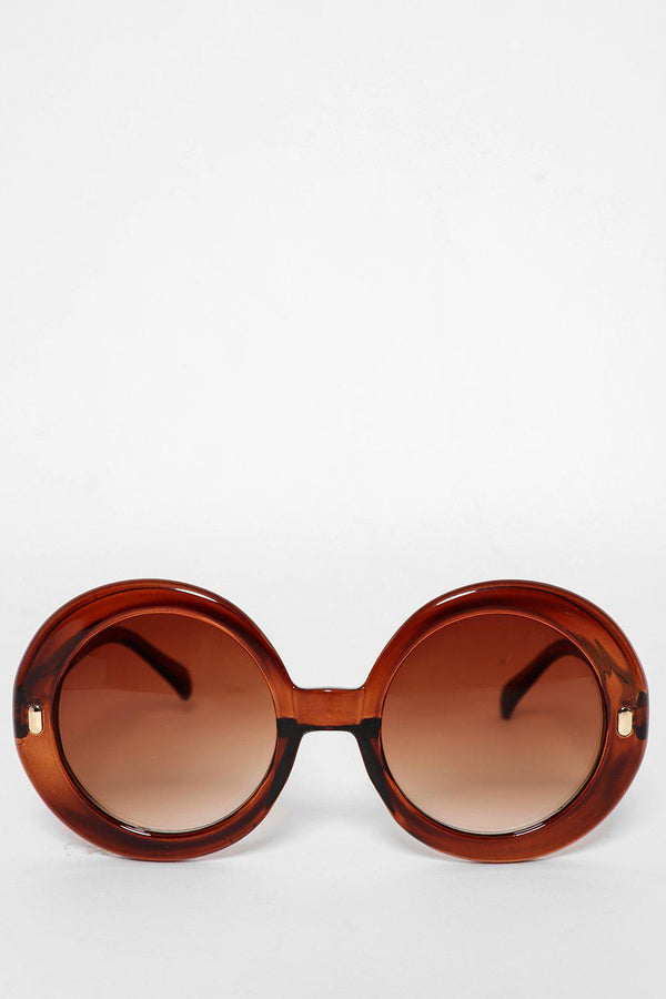 Large Round Brown Sunglasses-SinglePrice