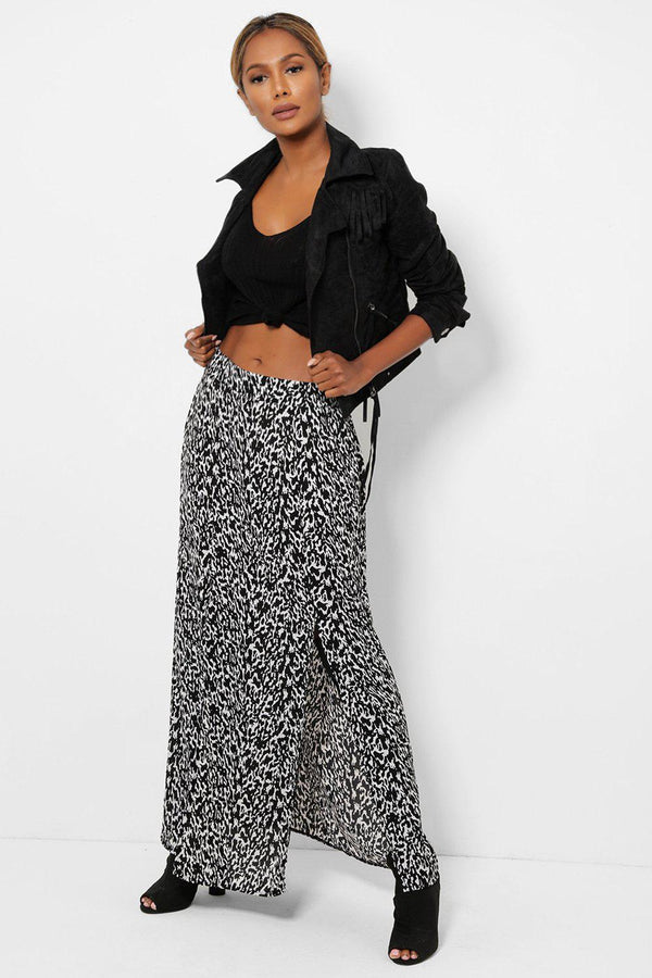 Black And White M-Slit Chiffon Maxi Skirt-SinglePrice