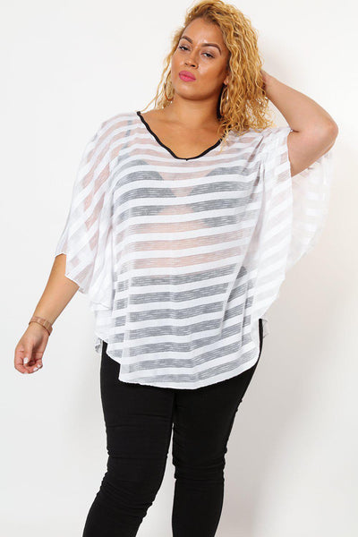 White Sheer Stripes Batwing Top-SinglePrice