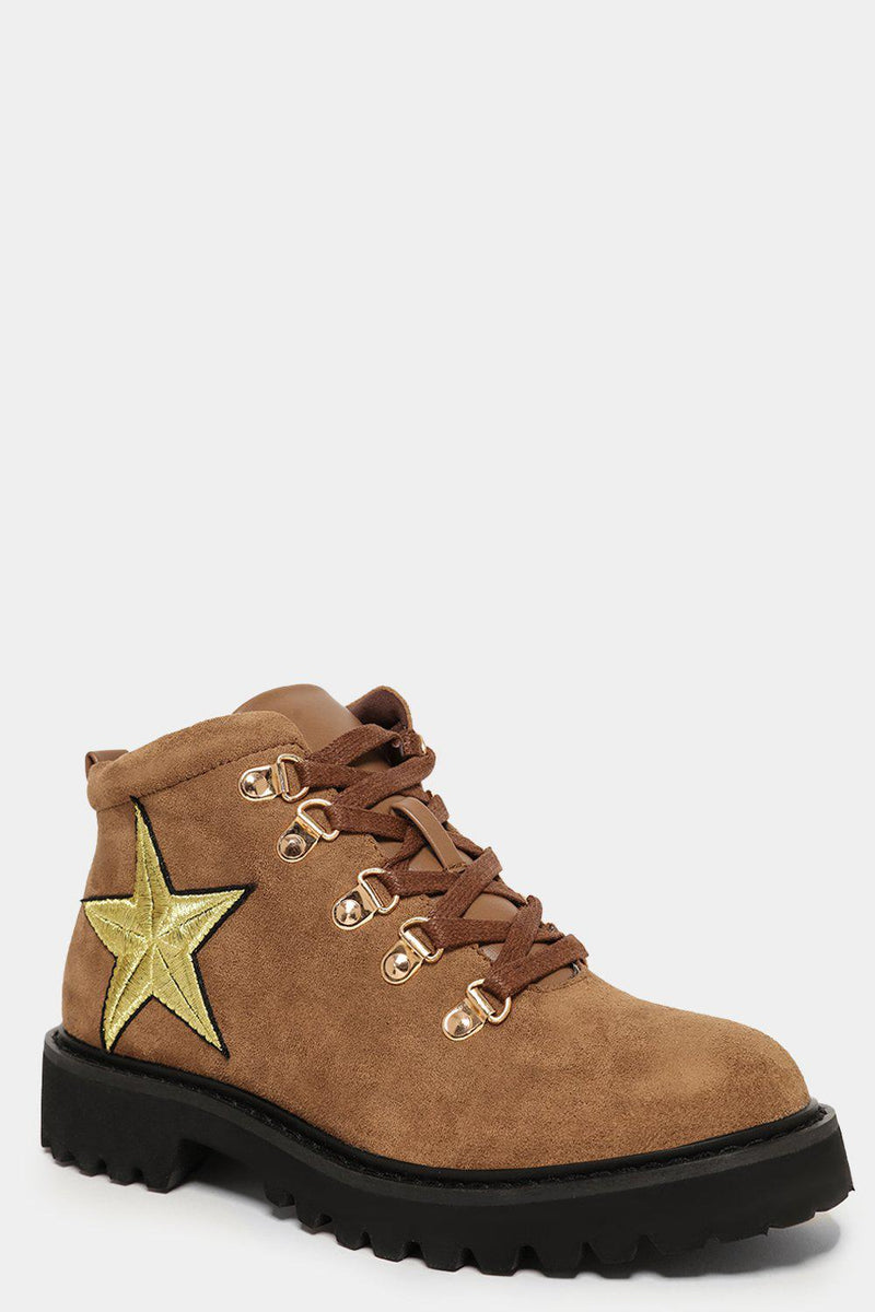 Taupe Vegan Suede Golden Eyelets And Star Ankle Boots - SinglePrice