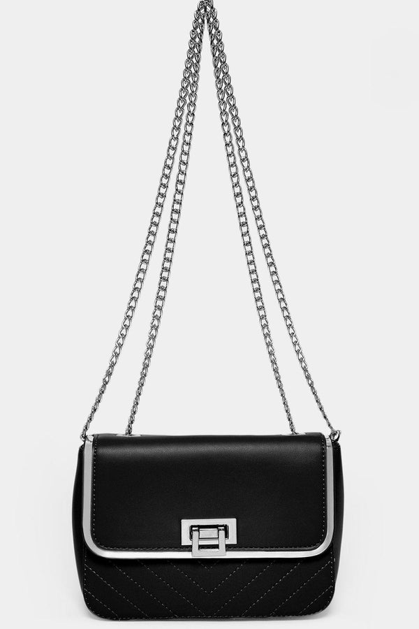Silver Chain Strap Black Mini Shoulder Bag-SinglePrice