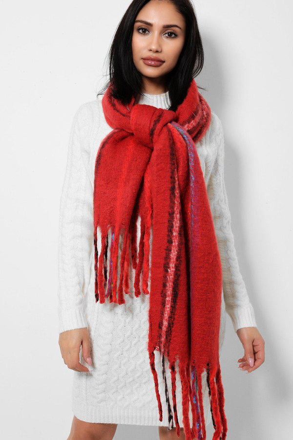 Burgundy Large Soft Fleece Scarf-SinglePrice