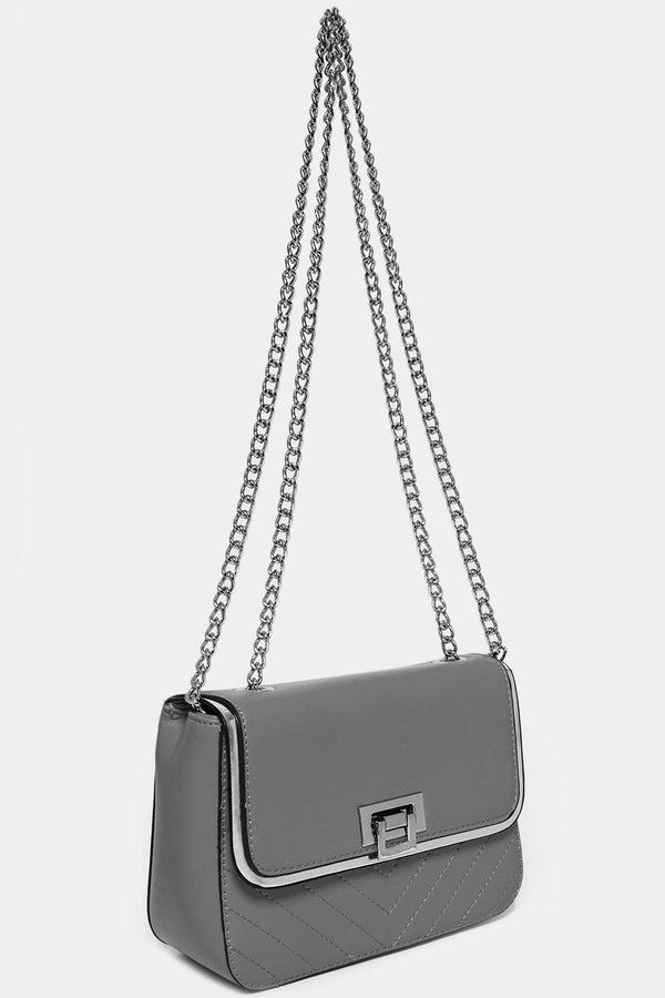 Silver Chain Strap Grey Mini Shoulder Bag-SinglePrice