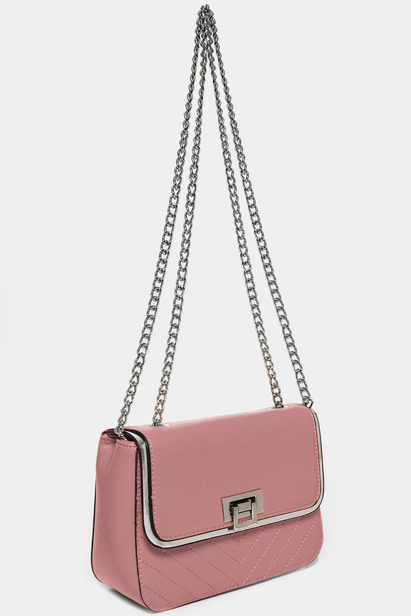Silver Chain Strap Pink Mini Shoulder Bag-SinglePrice