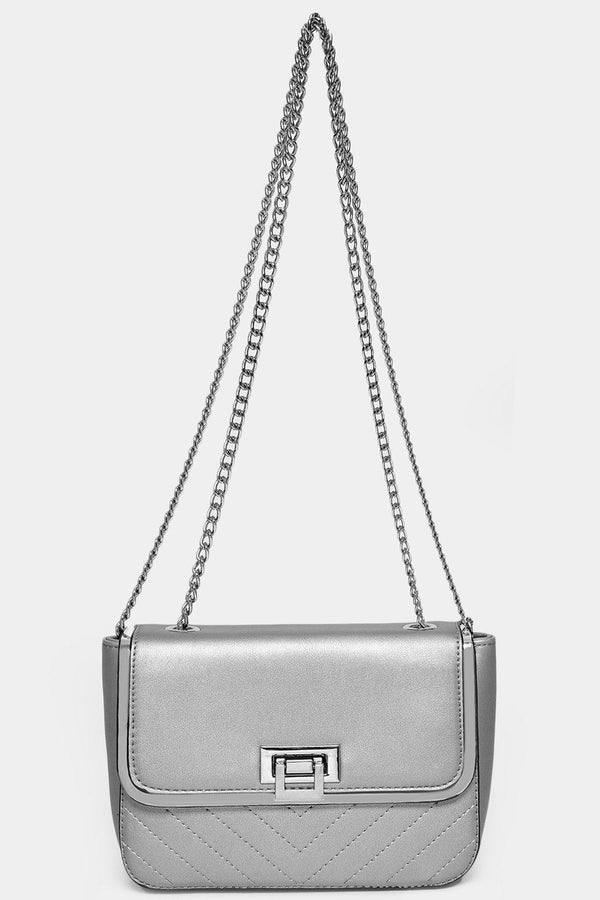 Silver Chain Strap Silver Mini Shoulder Bag-SinglePrice