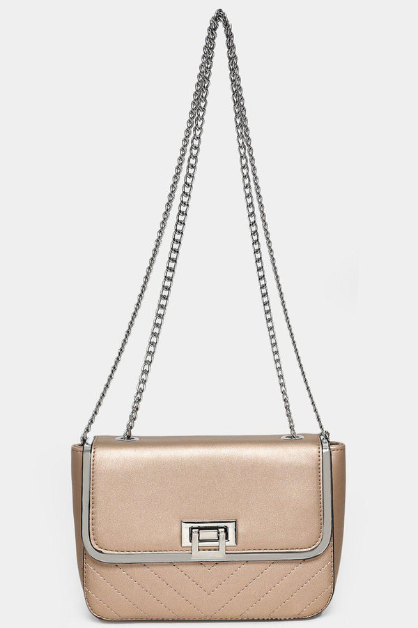 Silver Chain Strap Gold Mini Shoulder Bag-SinglePrice
