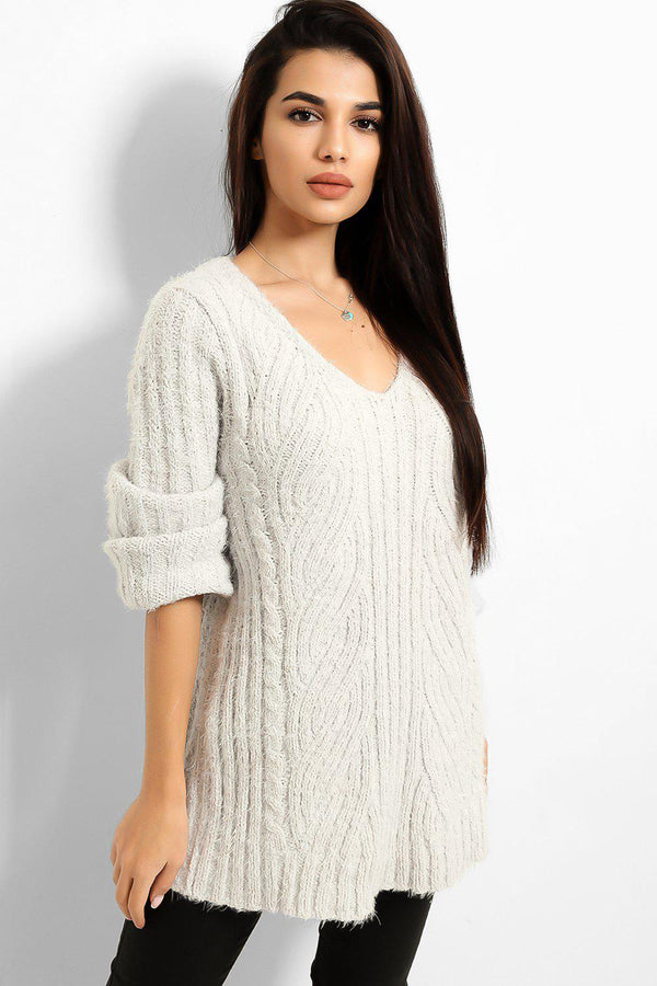 Light Grey Fluffy Knit V-Neck Jumper - SinglePrice