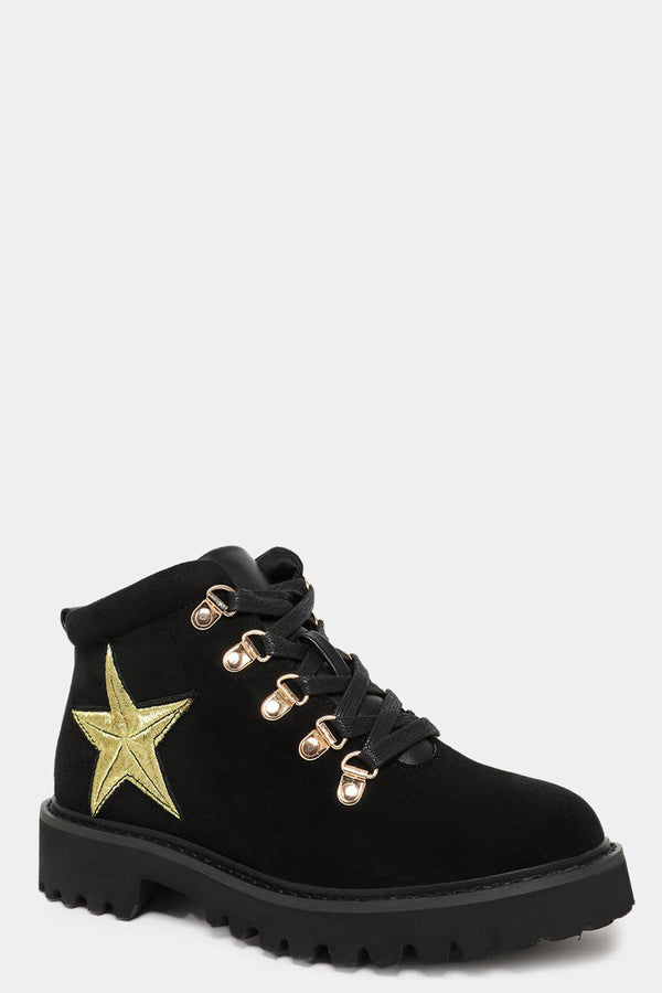 Black Vegan Suede Golden Eyelets And Star Ankle Boots-SinglePrice