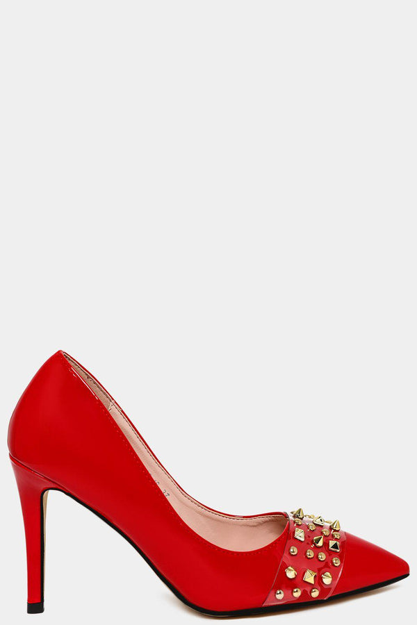 Red Studded Perspex Front Strap Stiletto Heels-SinglePrice