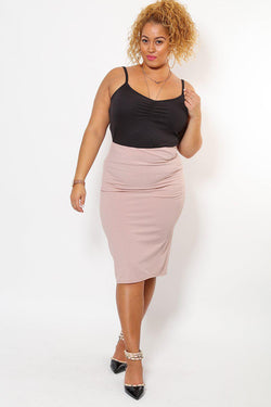 Dusty Pink Ribbed Pencil Midi Skirt - SinglePrice