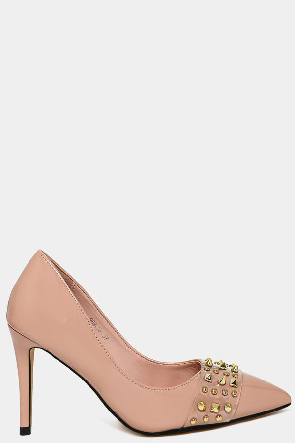 Nude Studded Perspex Front Strap Stiletto Heels-SinglePrice