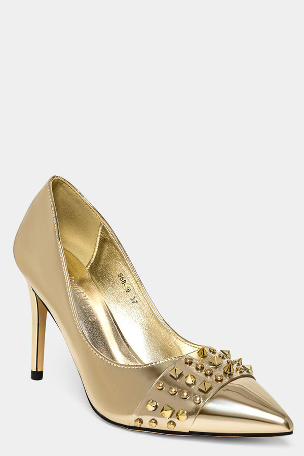 Gold Studded Perspex Front Strap Stiletto Heels-SinglePrice