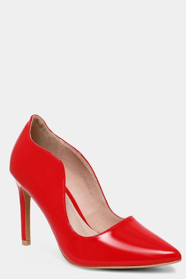 Red Patent Vegan Leather Scallop Trims Stiletto High Heels - SinglePrice