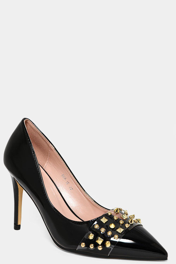 Black Studded Perspex Front Strap Stiletto Heels-SinglePrice