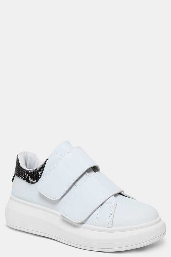 Python Print Cuffs White Velcro Trainers - SinglePrice