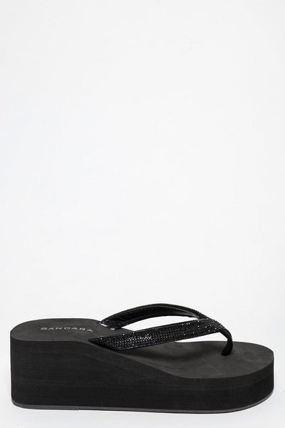 Crystals Embelished Black Thong Wedges