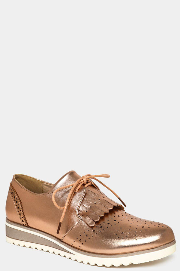 Metallic Gold Fringed Front Brogue Shoes-SinglePrice