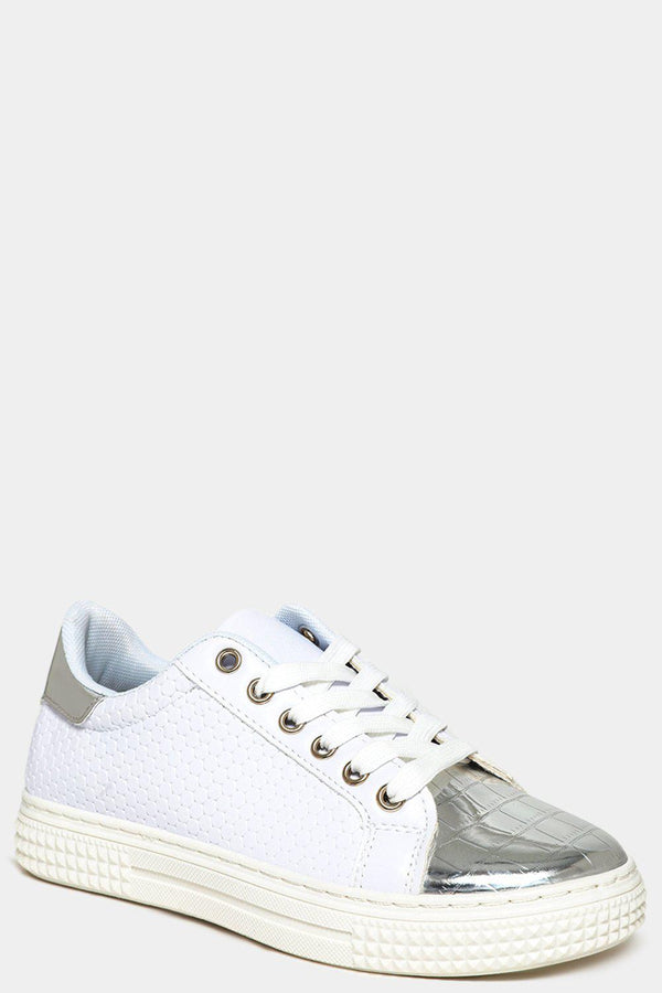 Silver Panels White Honeycomb Trainers
