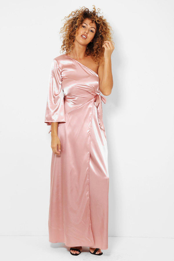 Pale Pink Satin One Shoulder Maxi Wrap Dress