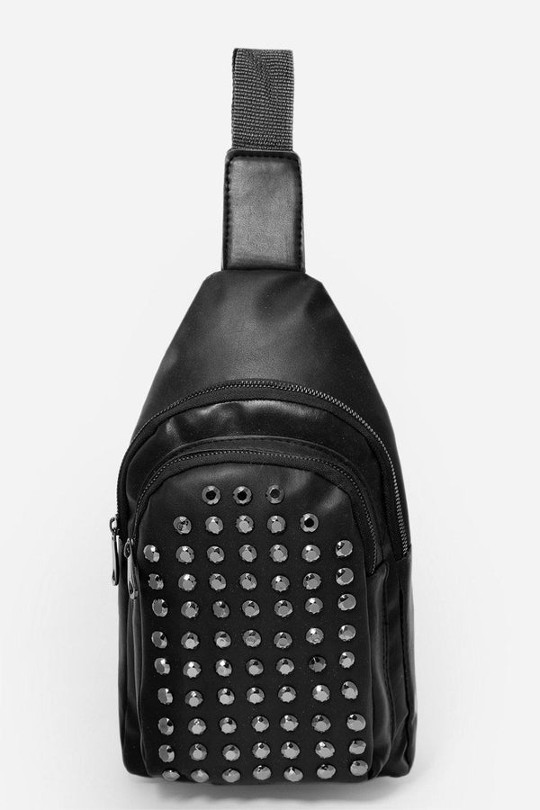 Studded Front Pocket Black One Shoulder Backpack-SinglePrice