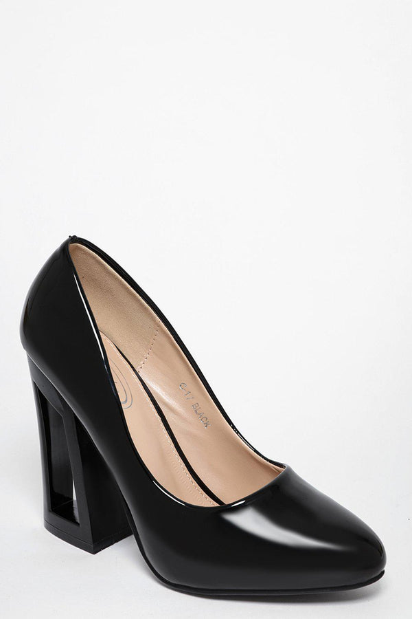 Black Cut Out Block Heel Patent Pumps-SinglePrice