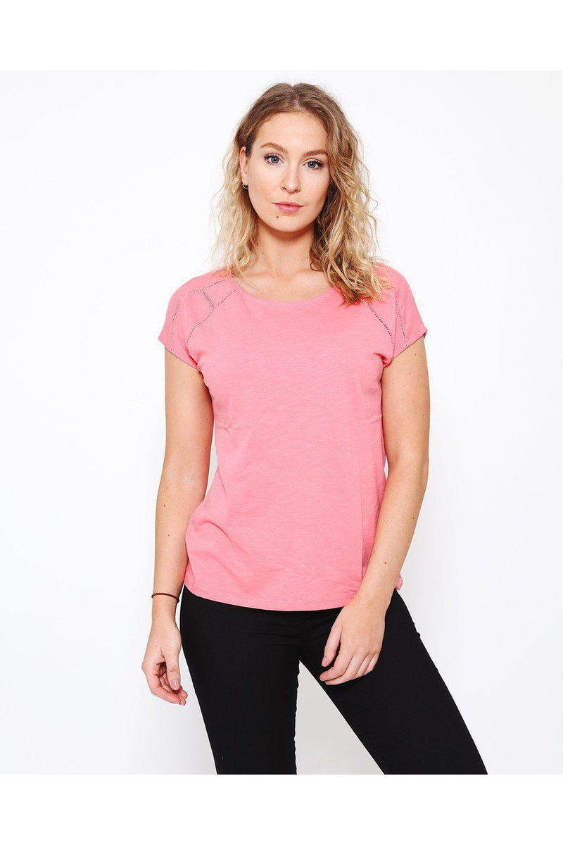 Perforated Details Pink T-Shirt-SinglePrice