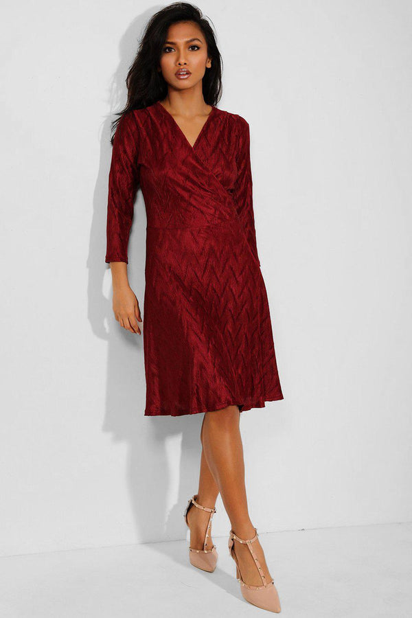 Burgundy Textured Wrap Neck Midi Dress - SinglePrice