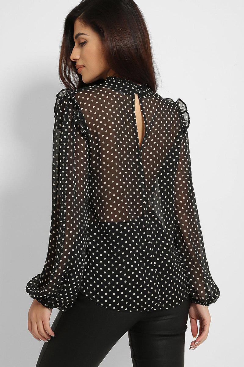 Black Sheer Chiffon Polka Dot High Neck Blouse - SinglePrice