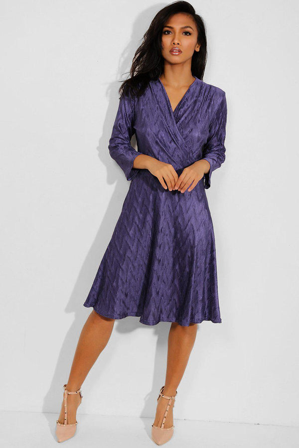 Purple Textured Wrap Neck Midi Dress - SinglePrice