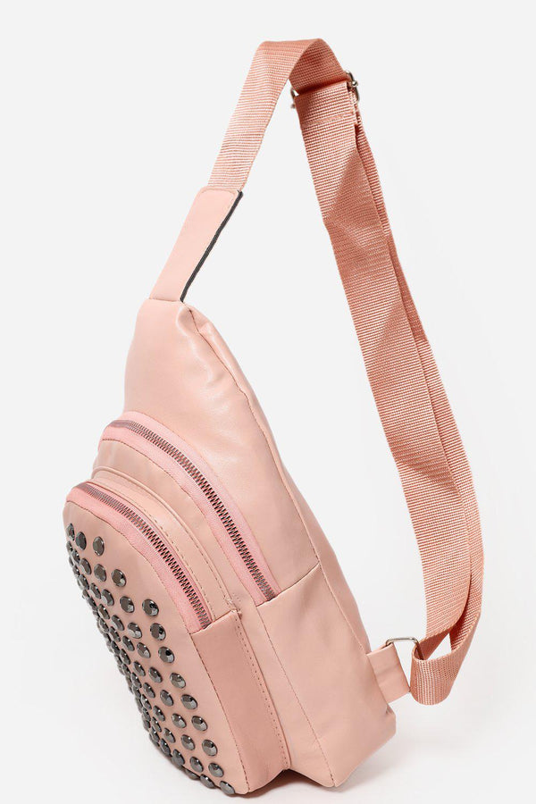 Studded Front Pocket Pink One Shoulder Backpack-SinglePrice