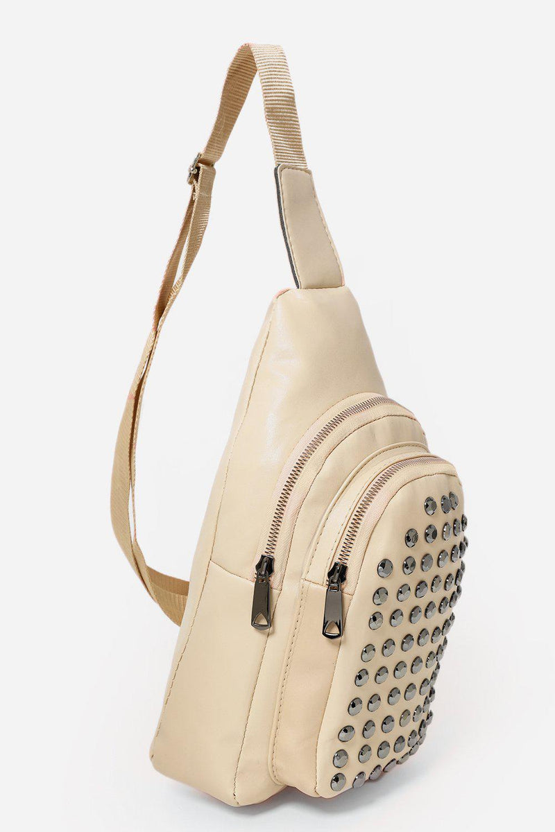 Studded Front Pocket Cream One Shoulder Backpack - SinglePrice