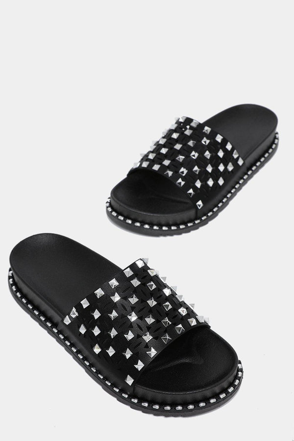 Black Studded Laser Cut Wedge Sliders-SinglePrice
