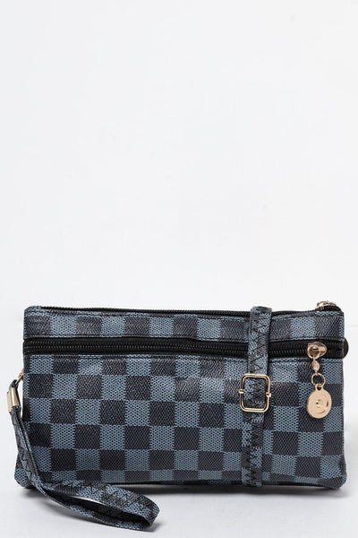 Blue Black Checked Small Wallet Bag-SinglePrice