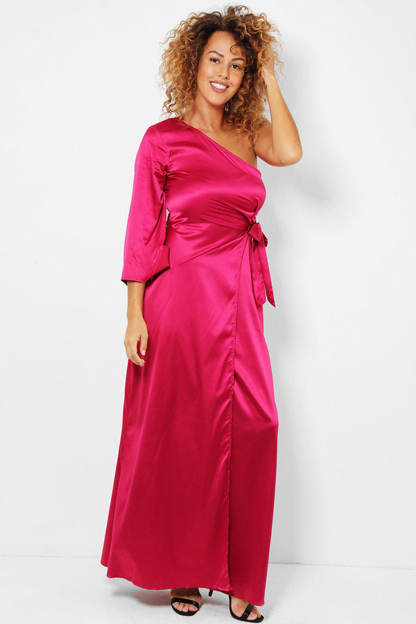 Hot Pink Satin One Shoulder Maxi Wrap Dress - SinglePrice