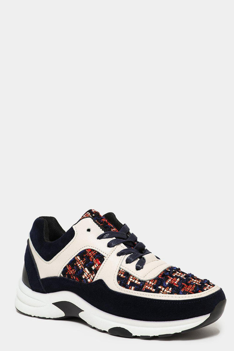 White Blue Boucle Panels Trainers - SinglePrice