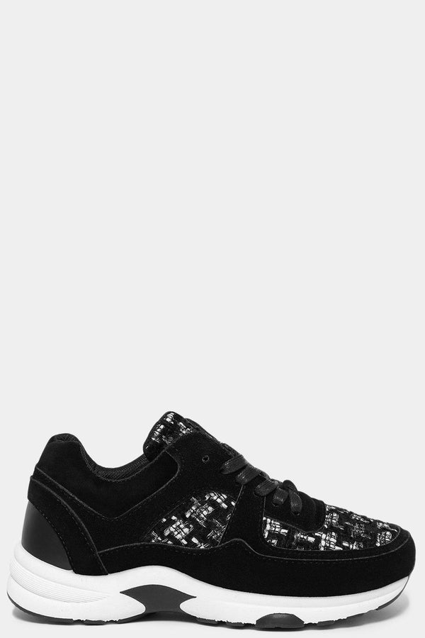 Black Boucle Panels Trainers-SinglePrice
