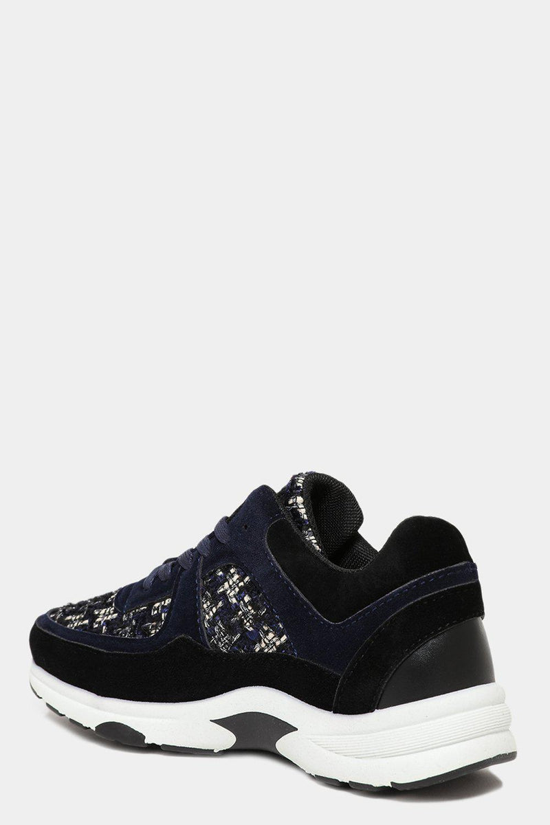 Dark Blue Boucle Panels Trainers - SinglePrice