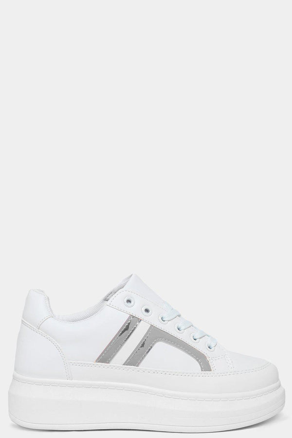 Metallic Silver Side Details White Chunky Trainers - SinglePrice
