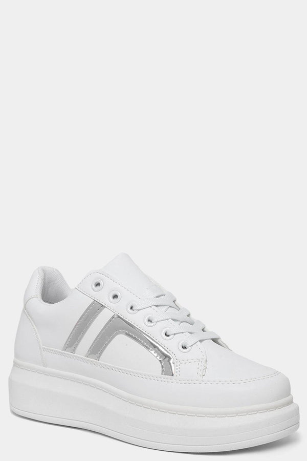 Metallic Silver Side Details White Chunky Trainers-SinglePrice